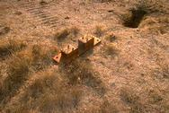 A pair of box-type gopher traps baited and set in a ground squirrel runway.