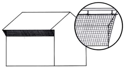 Mount netting from the outer edge of the eaves down to the side of the building. Insert shows one method of attachment using hooks and wooden dowels.