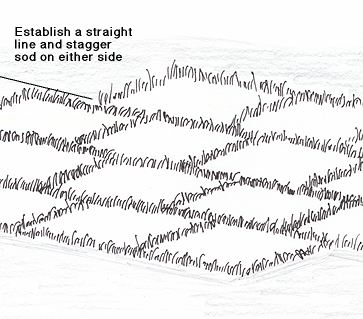 Illustration Of Sod Staggered On Either Side Of A Straight Line